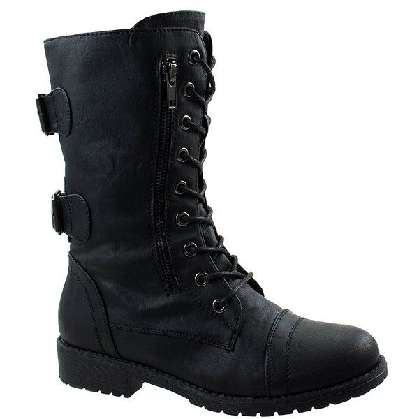 Amazon.com | Forever Link Women's Maura-67 PU Military Combat Mid Calf... ($25) ❤ liked on Polyvore featuring shoes, boots, mid calf length boots, combat style boots, military-style boots, military boots and military combat boots