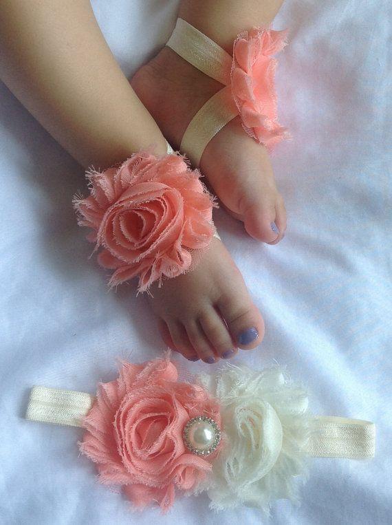 SET Sandals- headband peach - ivory baby barefoot shabby chic flower sandals & shabby chic rhinestone embellished  newborn- toddler on Etsy, $9.99