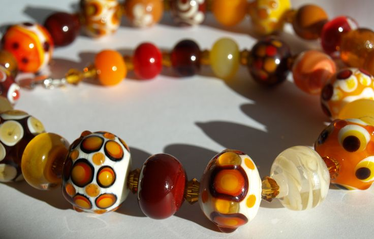 necklace with handmade lampwork beads