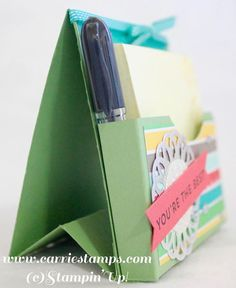 Stand Up Post It Note & Gift Card Holder video tutorial! www.carriestamps.com