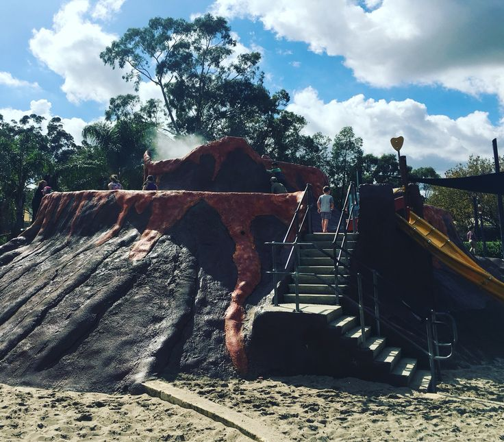 Volcano park, Belmont. A huge range of play equipment, fully fenced and a volcano which has 'steam' (misted water) coming out the top! We love it!