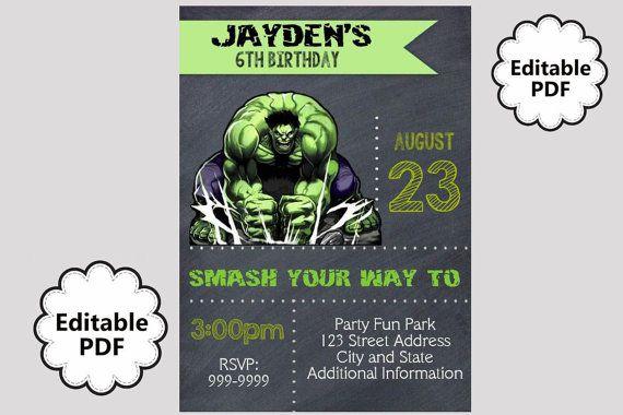 EDITABLE TEXT Hulk Birthday Invitation - Hulk Party ...