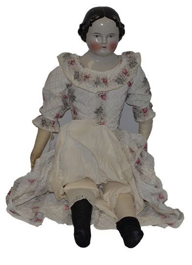 "Antique Doll China Head LARGE 30"" Dressed Center Part Kestner 1860's from oldeclectics on Ruby Lane"