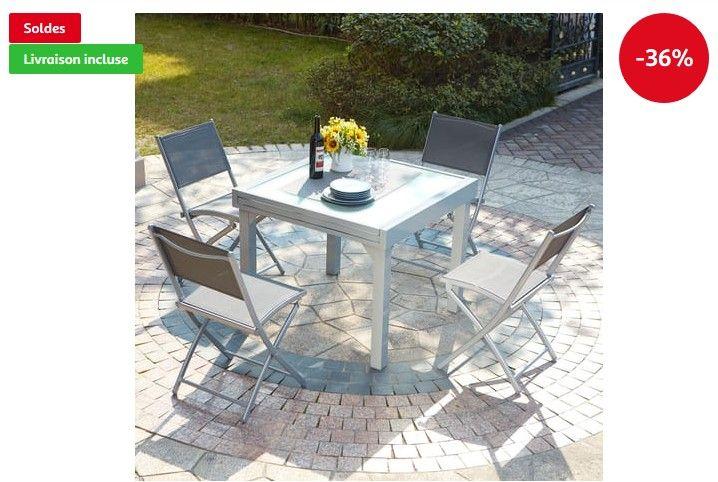 CONCEPT USINE Molvina 4 Table de jardin extensible en aluminium 8 ...