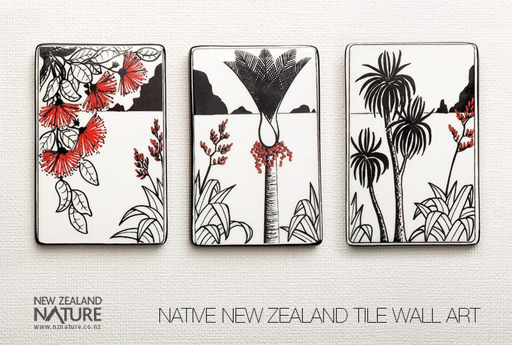 Native New Zealand Ceramic Tile Wall Art. Handpainted by ceramic artist, Kevin Kilsby, this tile triptych features a natural scene with Pohutukawa, Flaxes, Nikau and Cabbage trees – recognisably New Zealand!