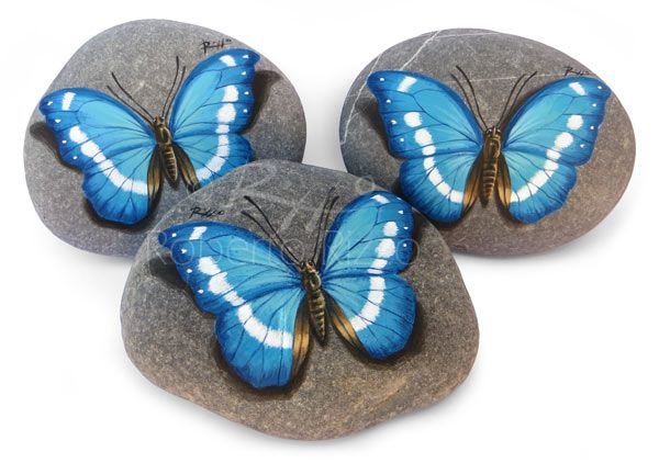 Unique Holy Communion/Wedding Favors | Blue Butterflies hand-painted on natural sea rocks | The Art of Roberto Rizzo | www.robertorizzo.com
