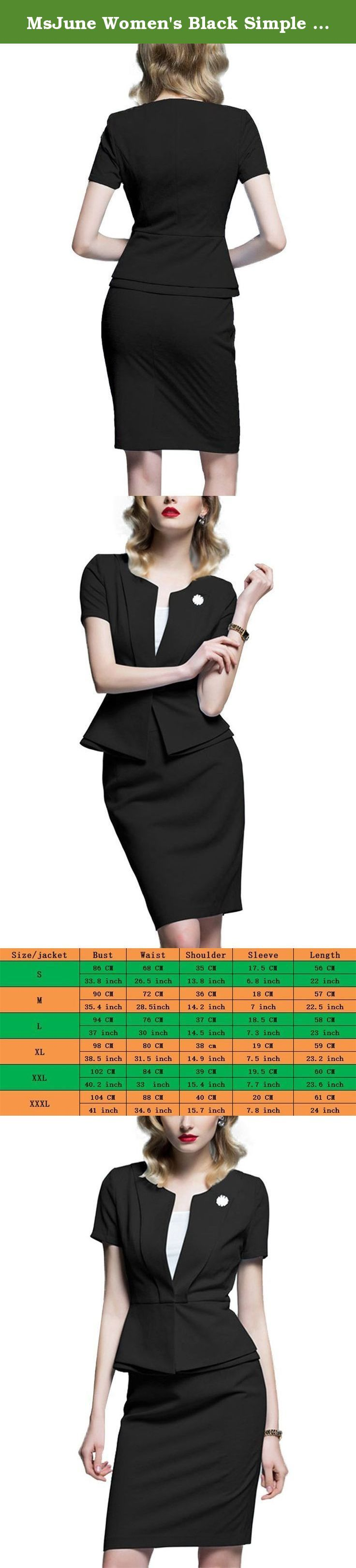 MsJune Women's Black Simple Elegant Business Bodycon Peplum Midi Party Dress. Women's Suit Dress Imported 100% Polyester Scoop Neckline,Short Sleeves,Peplum Knee-length Bussiness Dress Available In Size:S,M,L,XL,XXL,XXXL Available In Colors:Black,Light Sky Blue Soft and Comortable Material Please Note:Our Size is Different from Amazon Average Size,Please Order the Dress According to Our Size Chart. Please Note:The Actual Color May Vary Slightly from the Picture Because of Lighting Effects...
