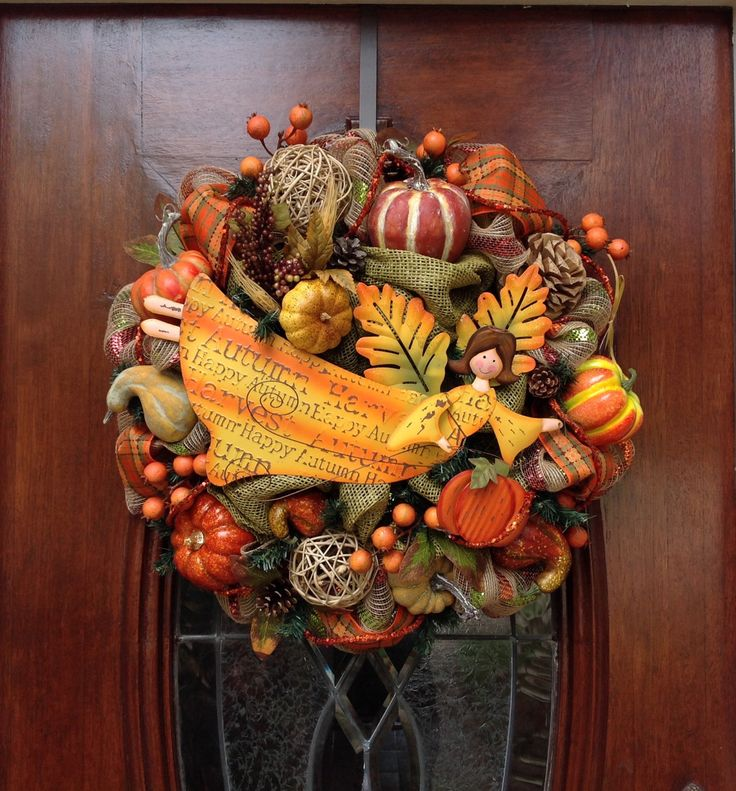 Harvest Blessing Angel Burlap and Mesh Wreath by HertasWreaths on Etsy