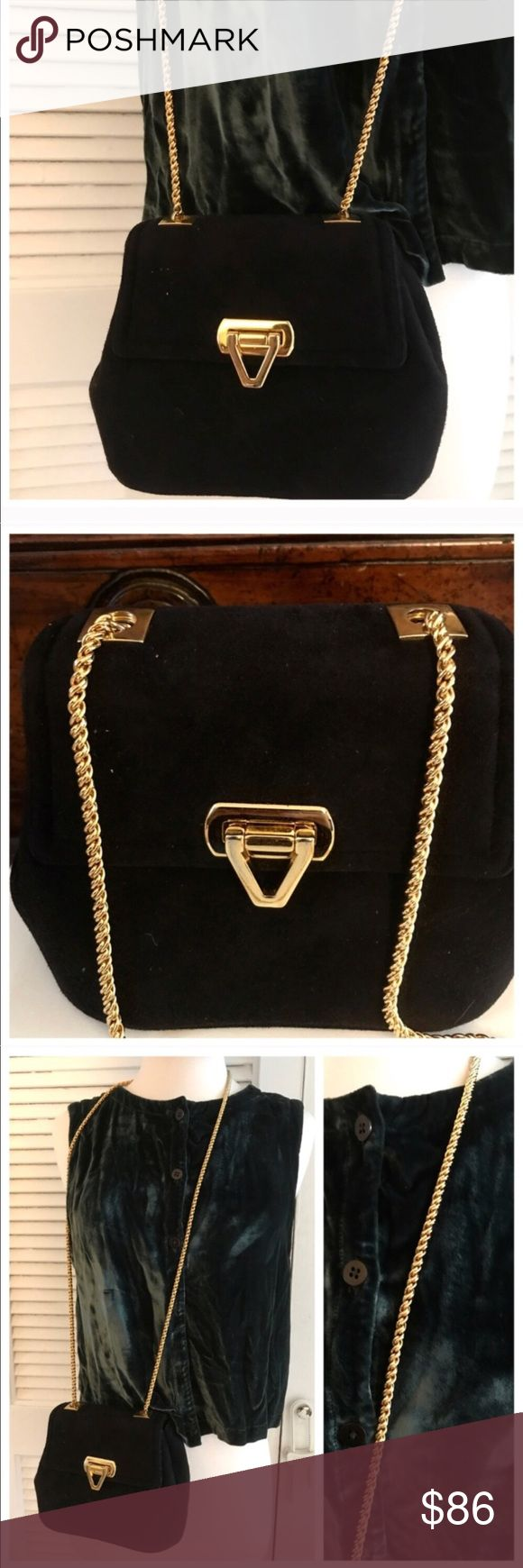 """Frenchy Of California Vintage Purse w/ Gold Chain! This bag is amazing!  Made by Frenchy of California, black with a long heavy thick gold chain.   I'm unsure of the fabric. Could be velvet, suede or something else altogether! It's beautiful whatever it is :)  In amazing condition, especially for being 60 or so years old! There's some rubbing on the base of the bag which is show.   Measurements 7-8"""" wide About 3"""" deep About 27"""" long including strap Vintage Bags"""
