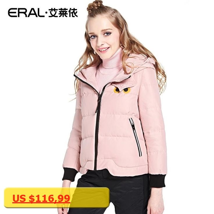 ERAL Womens Winter High Quality New Slim Hooded Short Down Jacket Solid Thick Causal Owl Pattern Parka Down Coat ERAL12009-EDAA