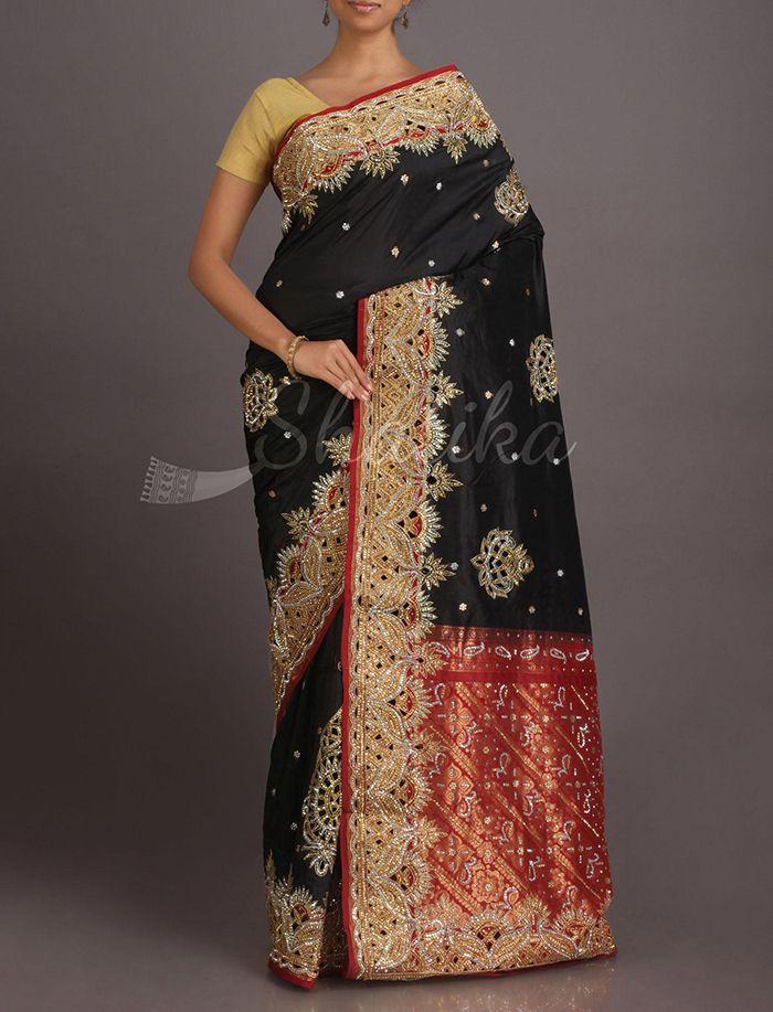 Aarthi Night Sky Glittering Border Pallu Kanchipuram Hand-Work Silk Saree