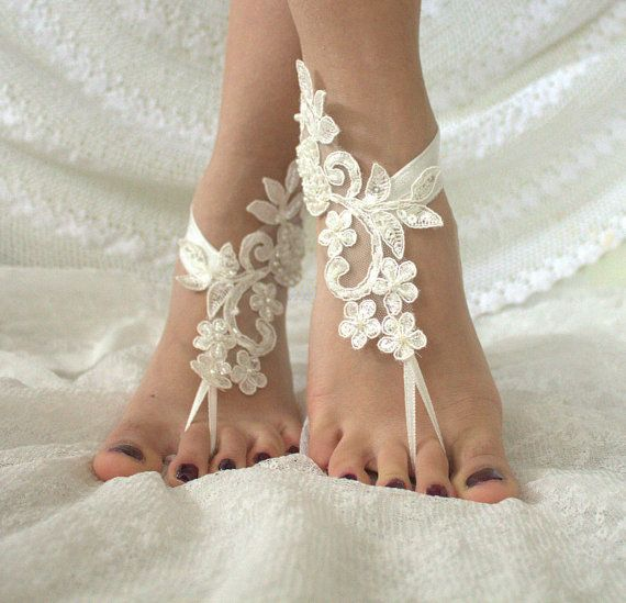 Beach Wedding  , Barefoot Sandals,French lace, Nude shoes, , Foot jewelry,Wedding Anklet, Beach Wedding Barefoot Sandals, Belly Dance