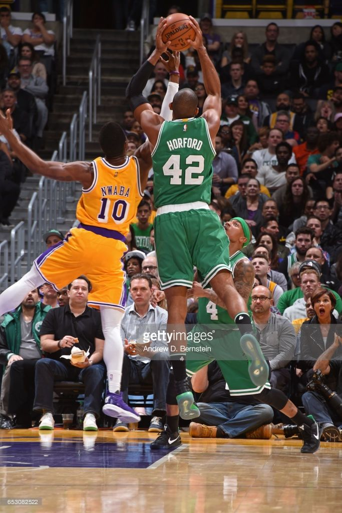 Al Horford #42 of the Boston Celtics grabs the rebound against the Los Angeles Lakers on March 3, 2017 at STAPLES Center in Los Angeles, California