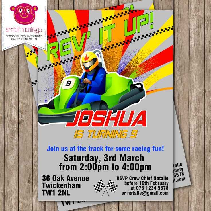 Personalised Go Karting Party Invitation - DIY Printable or Printed for You by ArtfulMonkeys on Etsy