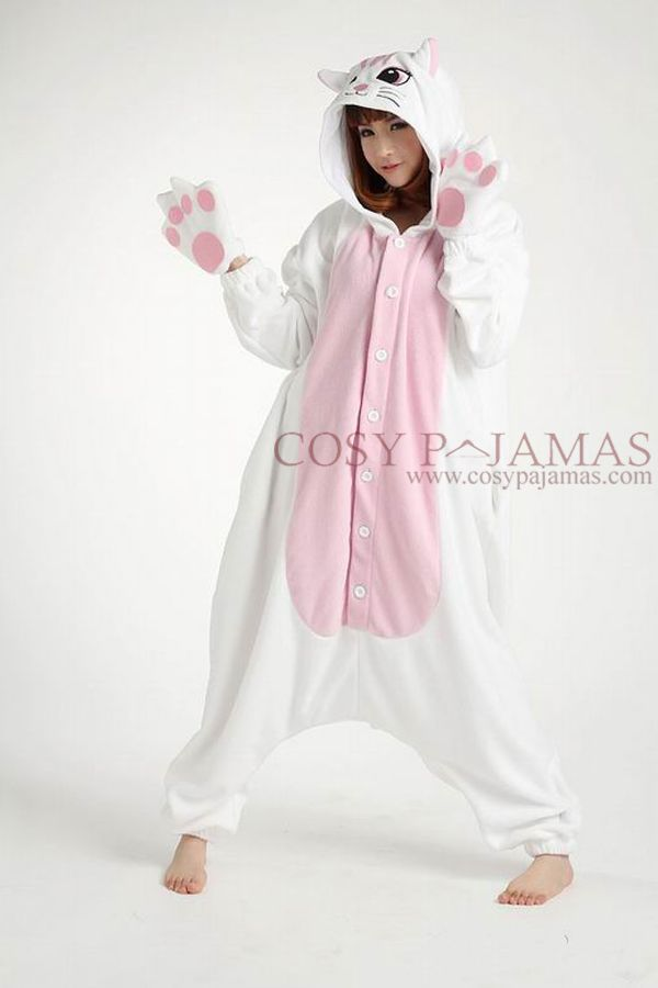 Fleece White Cat Adult Onesie Kigurumi