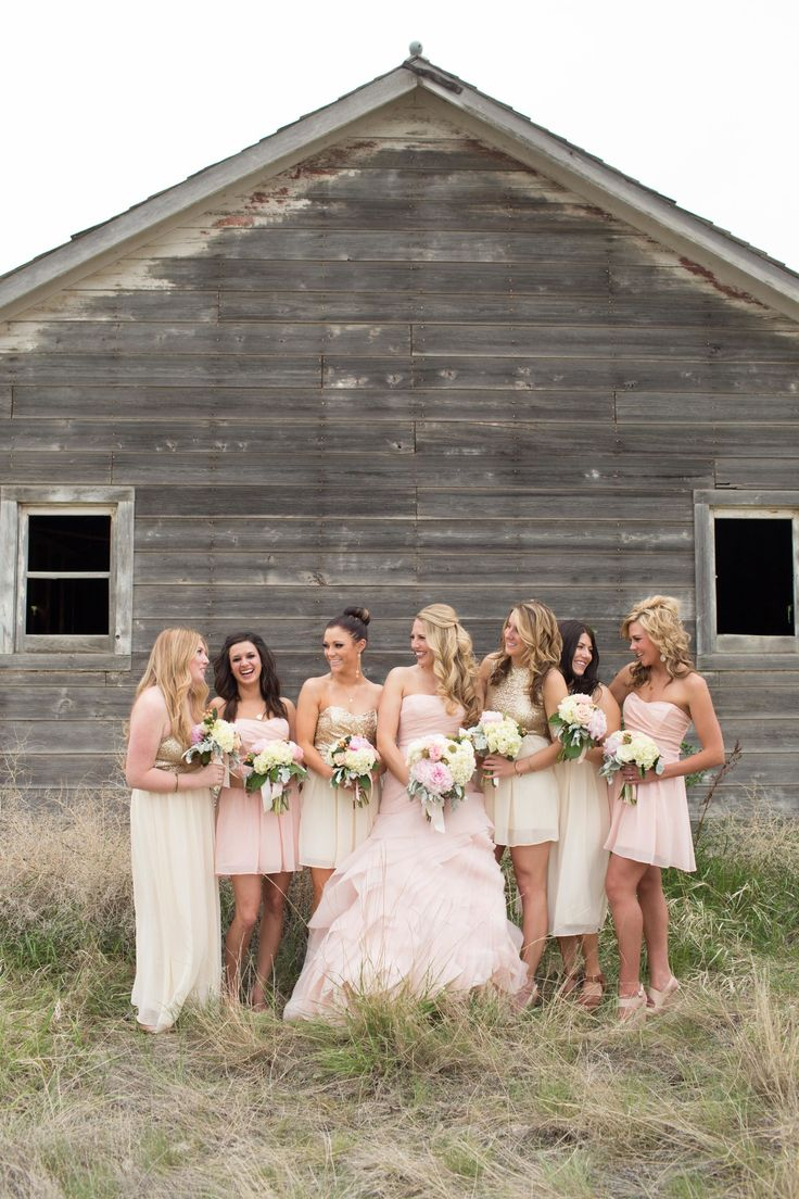 Mix of taupe and pink #bridesmaids dresses Photography: Cindy Cieluch Photography - www.cindycieluch.com  Read More: http://www.stylemepretty.com/2014/06/13/blush-pink-montana-wedding/