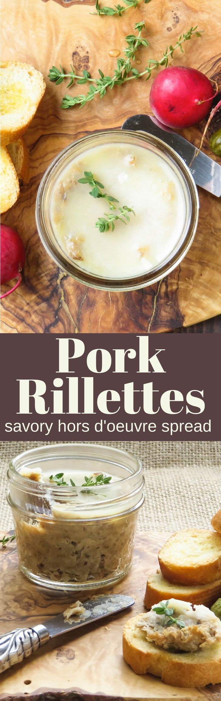 This easy pork pate recipe is a great holiday appetizer and makes enough for a crowd. Perfect for gifting with a sleeve of crackers and bottle of wine. #pate #spread #appetizer #horsdoeuvres #foodgift #hostessgift #pork #cognac #porkshoulder #braisedpork #homemadedip #dips #pottedmeat #rillettes #porkrillettes