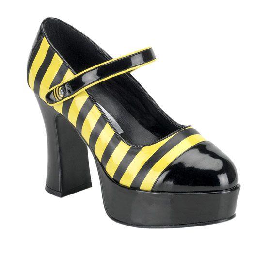 Bijen schoenen voor vrouwen : Deze bijen schoenen voor vrouwen bevatten een hak van ongeveer 10 cm. Een enkelbandje is ook aanwezig. Deze sluit met een kklittenband.Perfect als aanvulling voor uw bijen kostuum tijdens een...