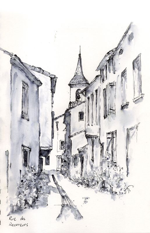 Line Drawing With Watercolor : Rue des recureurs pen and wash by artist allan kirk art