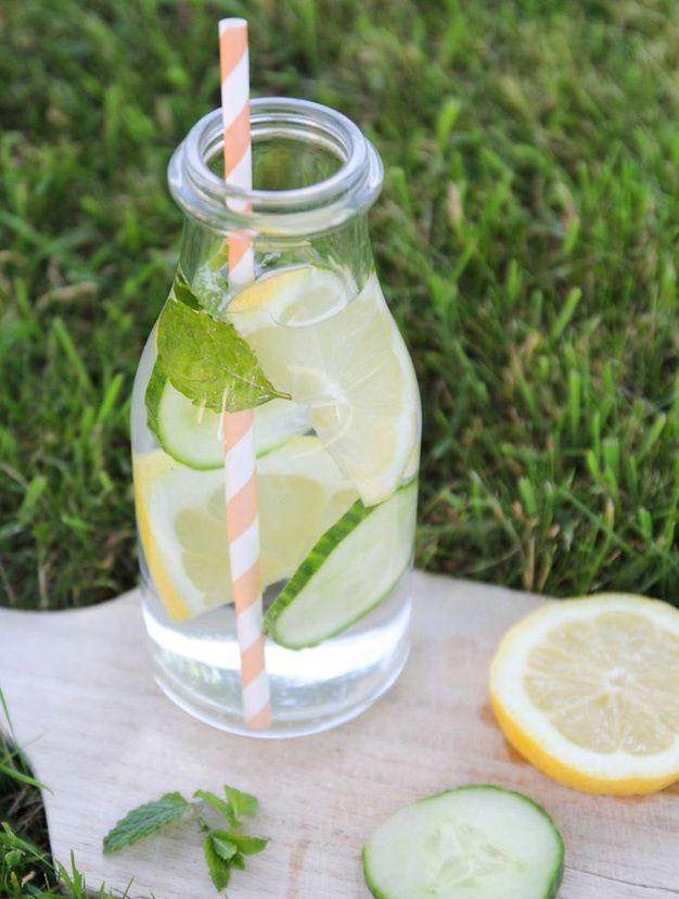Idees de recettes d'eaux detox - Water detox citron concombre