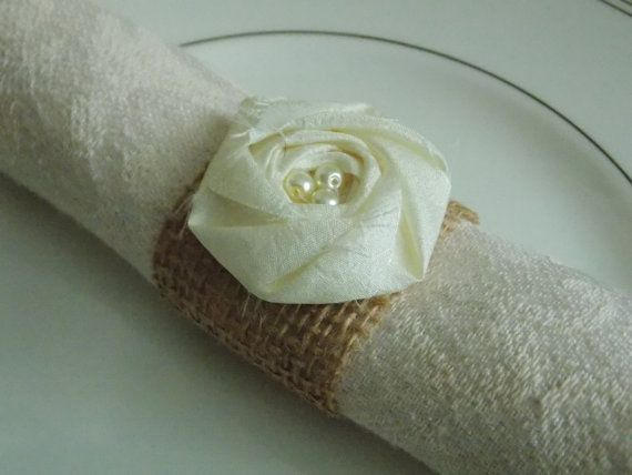 Ivory Wedding Decor Burlap Napkin Rings Burlap Flower Rustic Shabby Chic Wedding Decor Table Decor Table Setting Place Setting on Etsy, $1.60
