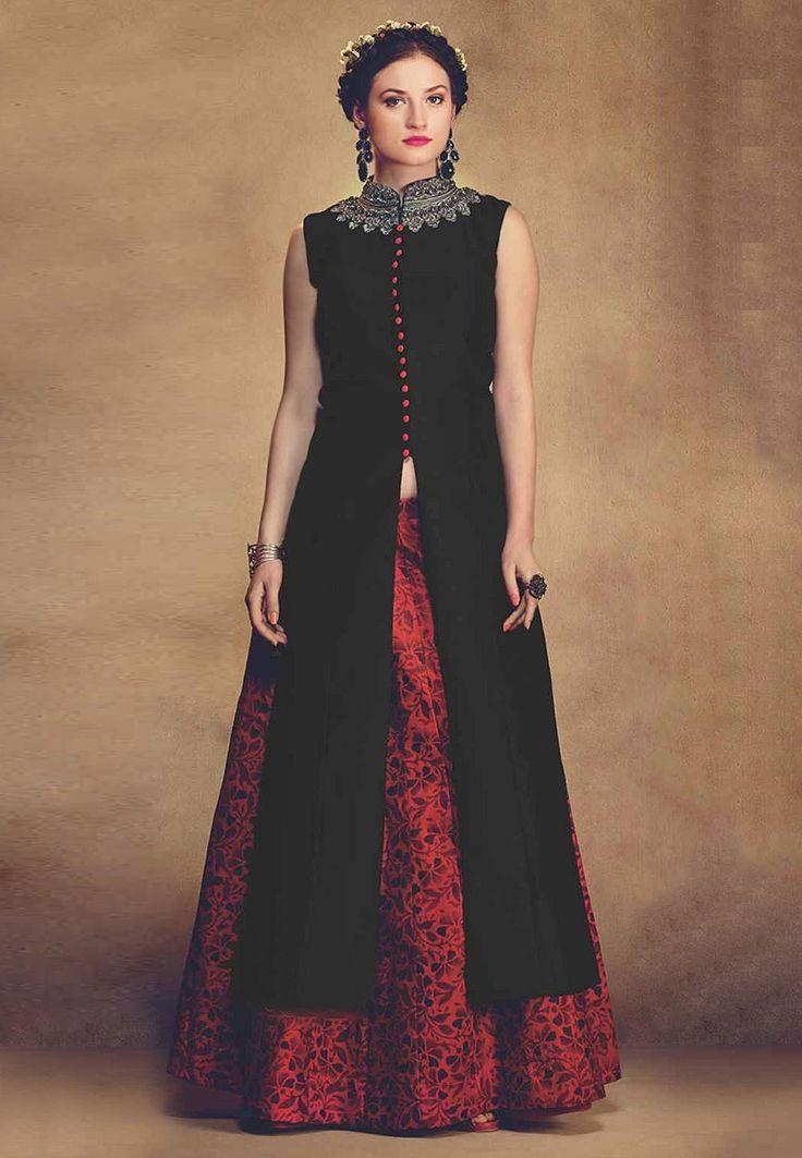 Buy Floral Printed Art Silk Lehenga in Red online, work: Embroidered, color: Red, usage: Wedding, category: Lehenga Choli, fabric: Art Silk, price: $213.37, item code: LZW2, gender: women, brand: Utsav