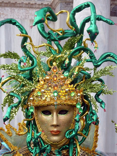 Cool mask with green snakes (P1000723a) by Alaskan Dude, via Flickr