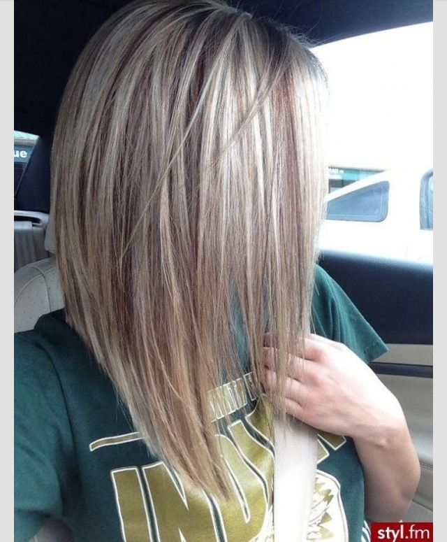 Perfect blonde, and the long angled bob cut is superb
