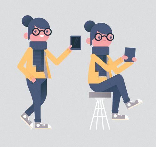 Tablet girl, unused character sketch