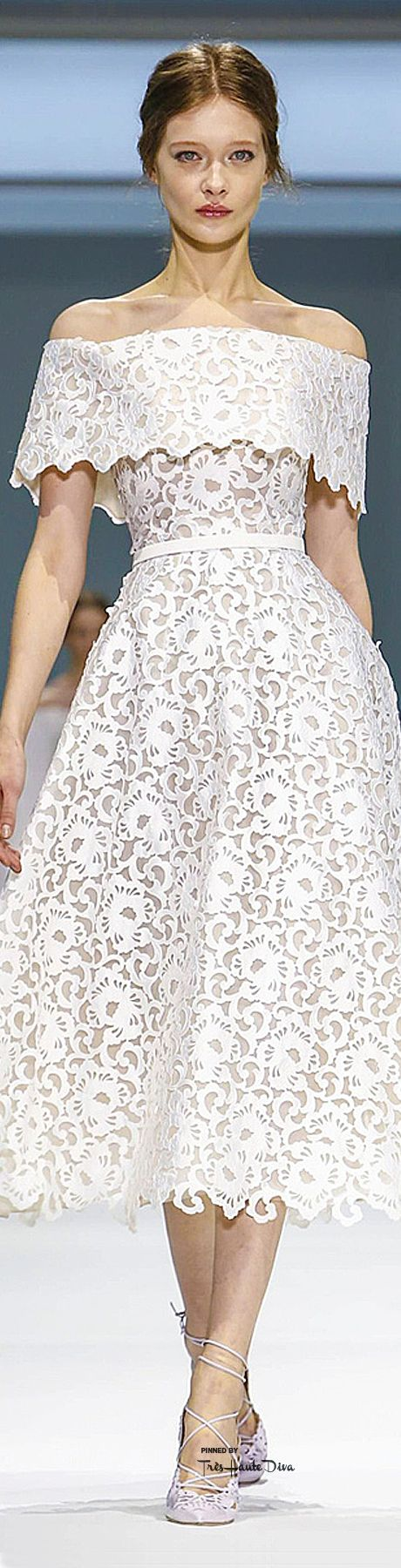 Ralph & Russo ~ Couture Spring White off the shoulder Lace Dress 2015