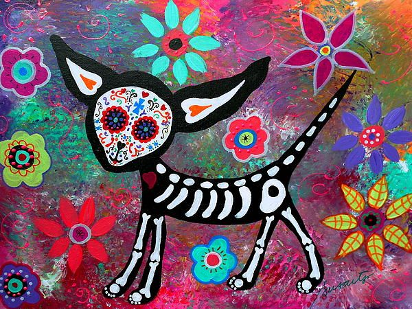 Chihuahua Dia de los Muertos Painting by Prisarts  Day of the Dead Mexican Art Cool, popular, best-seller, great gift, present