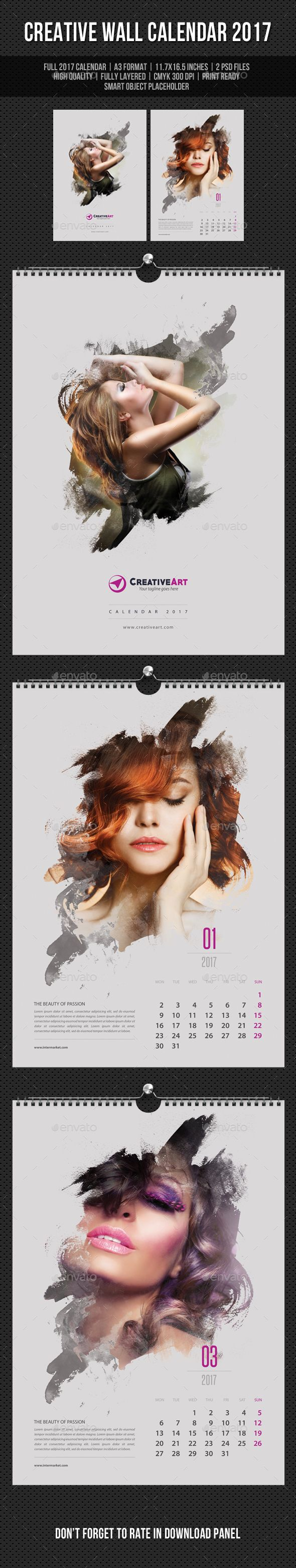 Creative Wall Calendar Design 2017 V06 - Calendars Template PSD. Download here: https://graphicriver.net/item/creative-wall-calendar-2017-v06/16947926?s_rank=139&ref=yinkira
