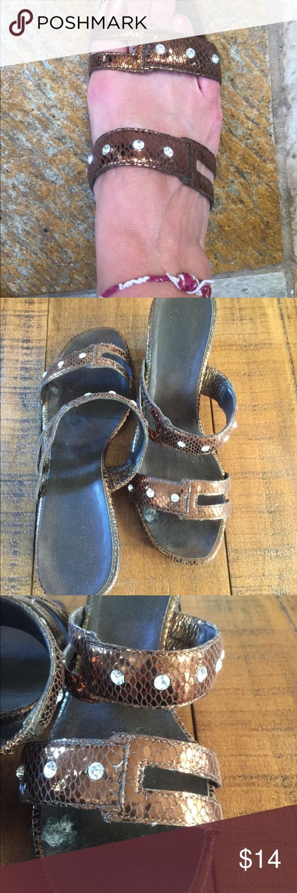 💝Chocolate brown lovely heel sandals rhinestone💝 Size 7 1/2 W  wore a few times.  Lovely comfortable with a white linen pants or a shorts/skirts. Shoes Sandals