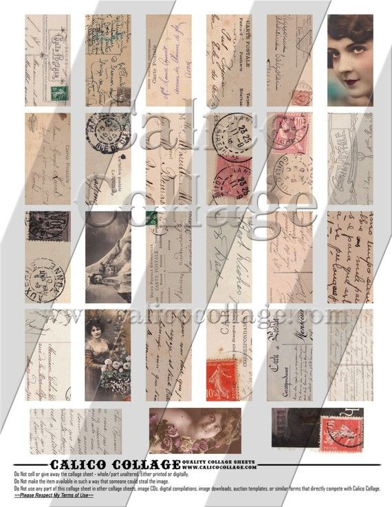 French and German PostCards  Instant Download by calicocollage, $4.15