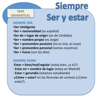 Here you can find some ser and estar fixed uses. You need to learn them by heart.