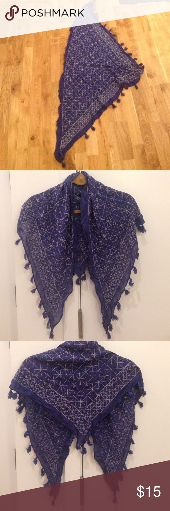 Blue Scarf with White Stitching and Tassles Blue Scarf with White Stitching and Tassles Accessories Scarves & Wraps