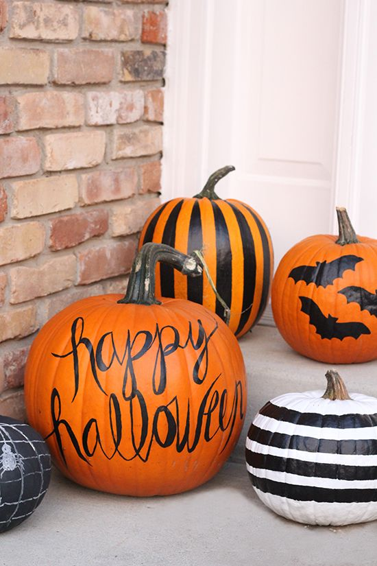 easy painted pumpkin ideas for halloween - Halloween Decorations Pumpkins