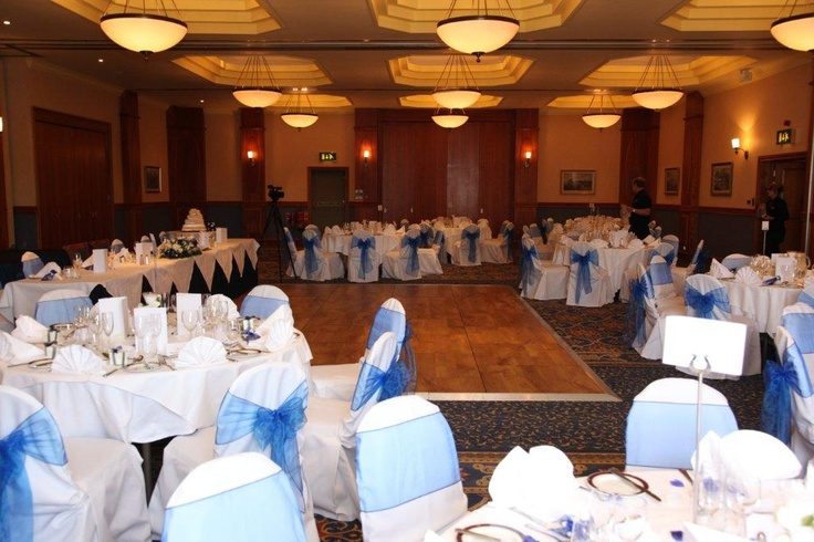 Augusta Suite Set with blue bows can host up to 160 day guests and up to 200 for the evening.
