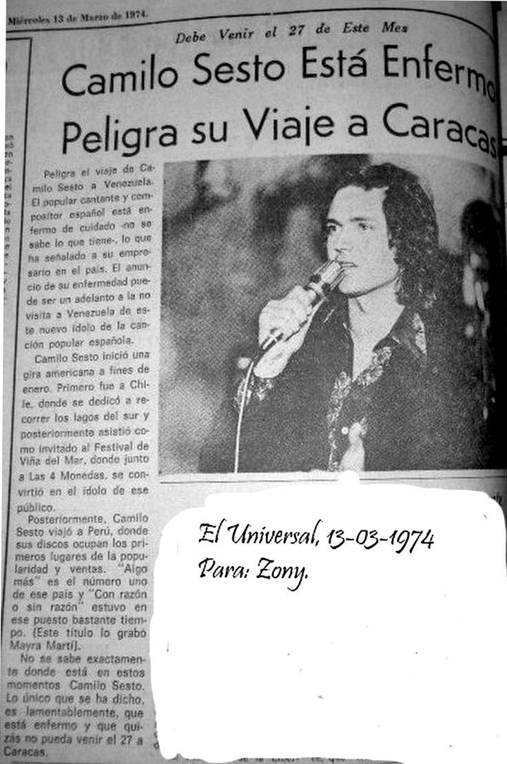 Camilo Sesto, noticia de El Nacional 1974 (Venezuela)