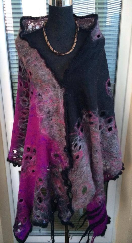 .. In LoVe with Purple.. - super Luxury wool felt scarf wrap(cape) cobweb stele…