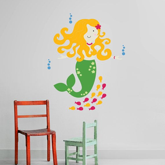 Mermaid Wall Decal for Under the Sea, Nautical theme Baby Nursery, Kids, Children