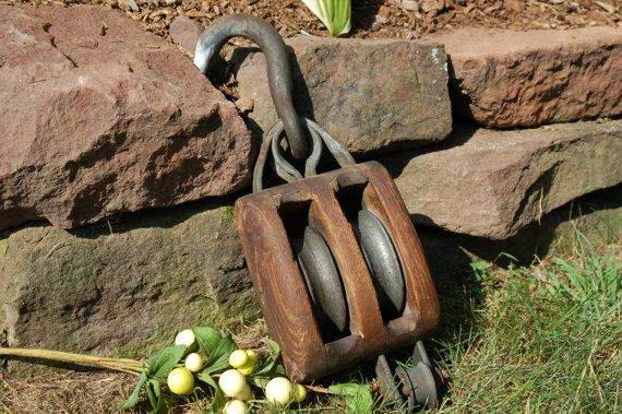 Antique Pulley Wood Double Rope Pulley with by CobblestonesVintage, $48.00