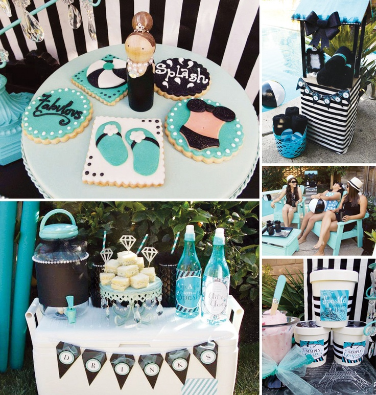 Tiffany Theme Pool Party {Glam Summer Splash!} by LAURA'S little PARTY + Printables by HWTM http://hwtm.me/134OJ0W