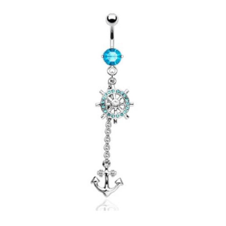 Anchor Belly Ring Long Sexy Dangle with CZ Stone 14G Belly Piercing 1.6mm Comes with 1 Belly Retainer