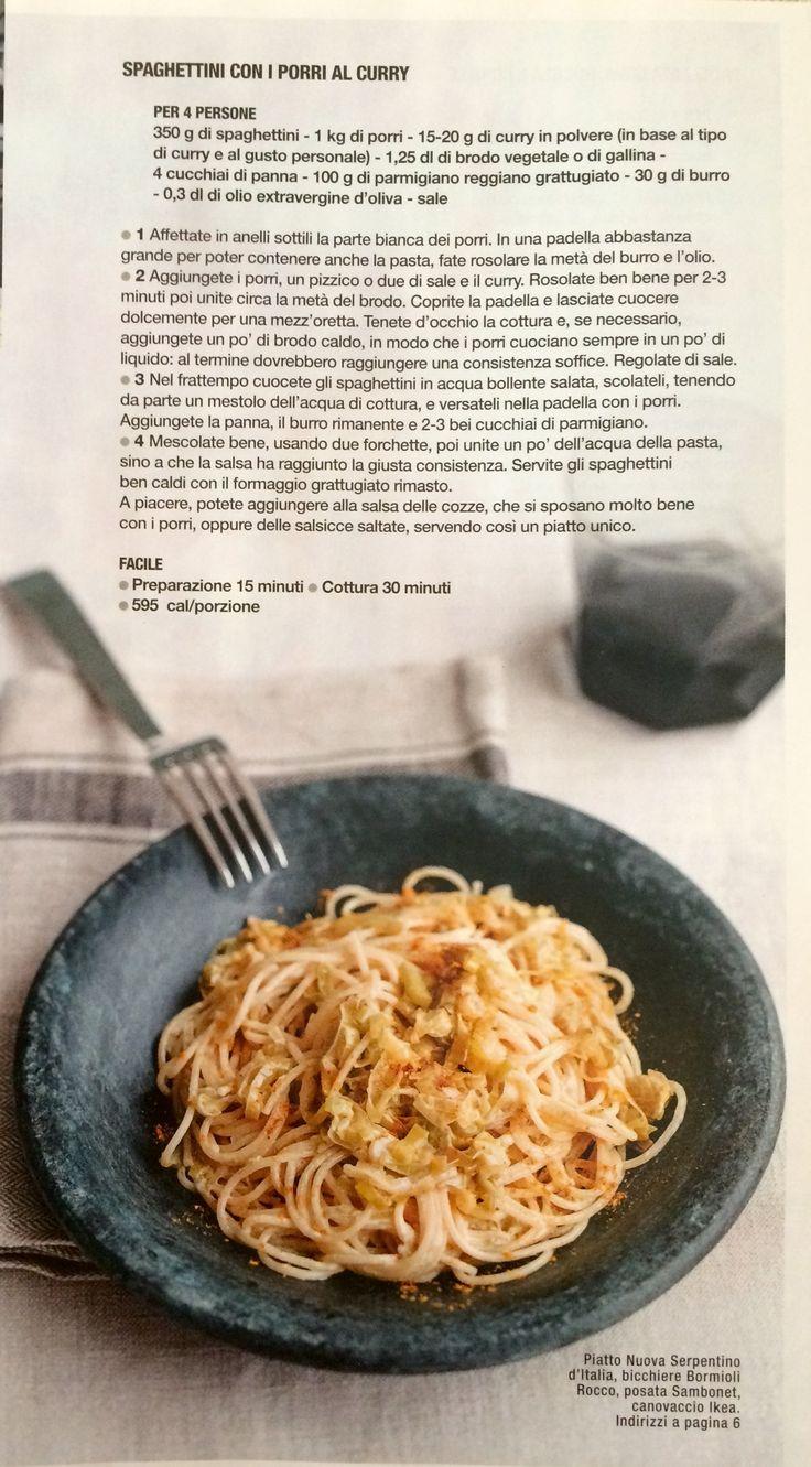 Spaghetti con i porri al curry