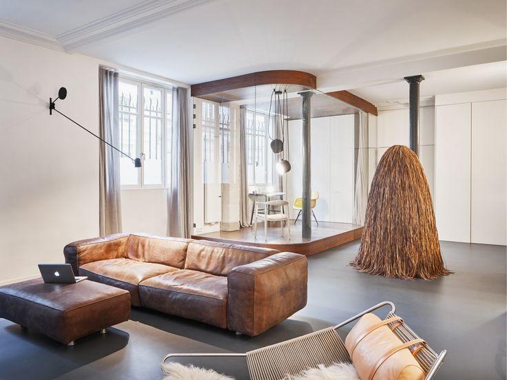 Glass & Walnut Paris Loft by CUT Architects