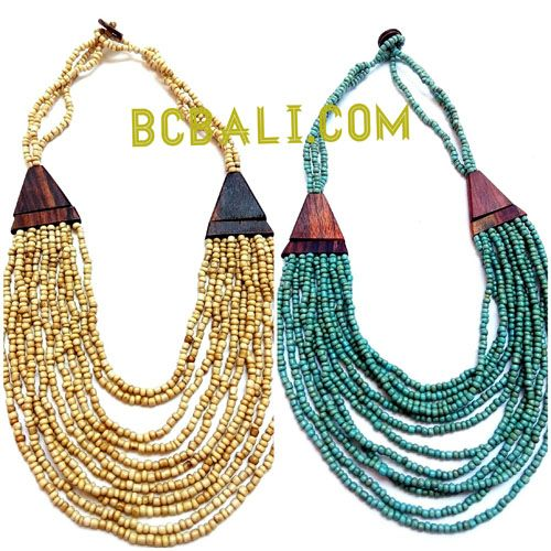 necklaces choker layer bead wood ethnic design - two color shown necklaces choker layer bead wood ethnic design