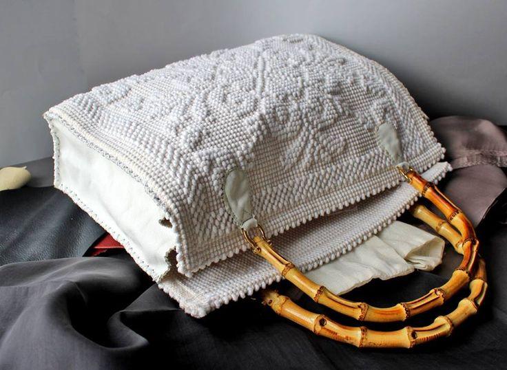 Borsa in tessuto sardo, pelle e manici in bambù design and handmade by gabriellapontis.com