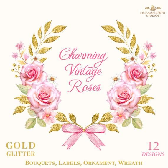 Pink And Gold Watercolor Pink Watercolor Flowers Clipart Etsy Gold Watercolor Pink Watercolor Digital Flowers