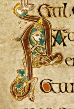 Book Of Kells Initial Letter A With Man And Animal Heads